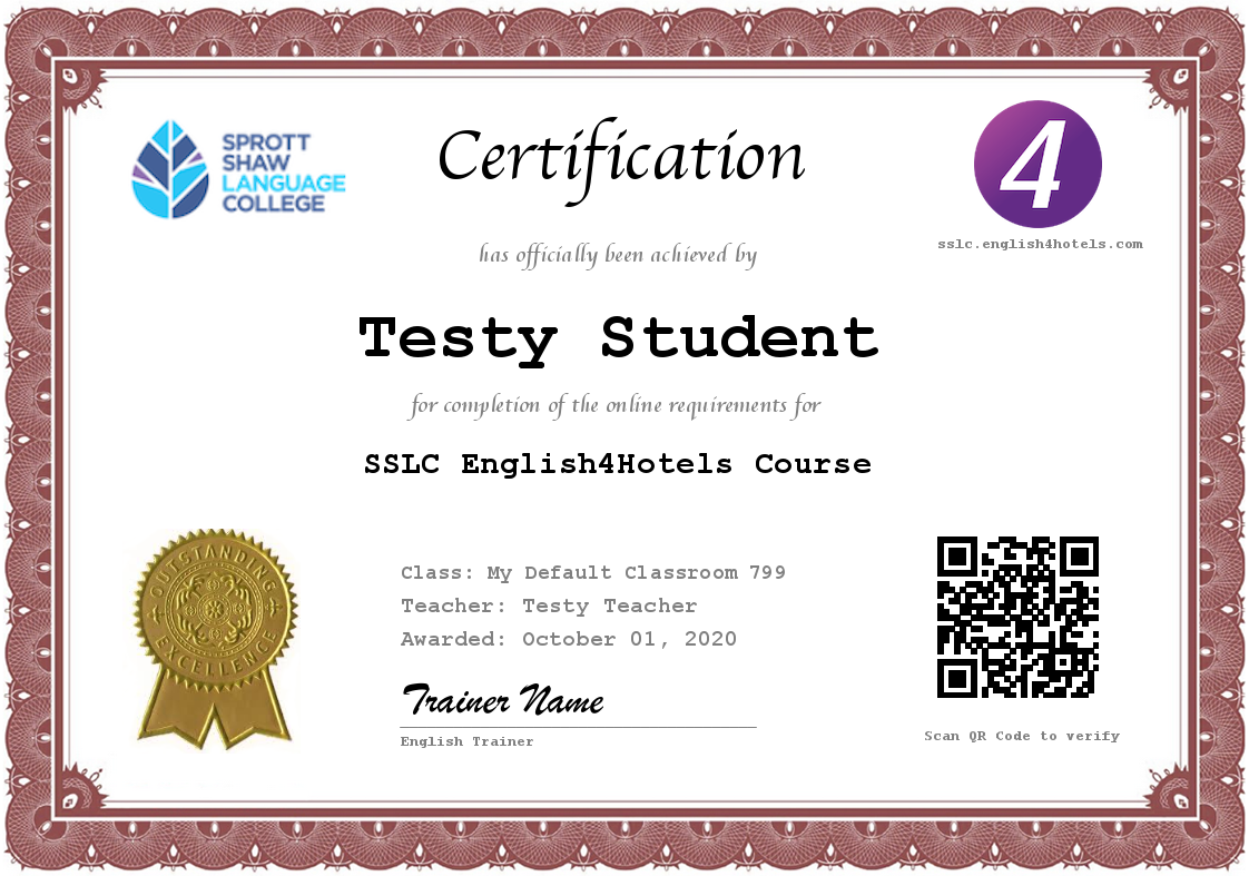 SSLC English4Hotels Certificate